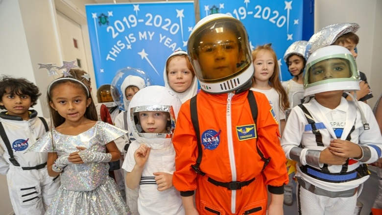 Dubai students dress up in space-themed outfits to celebrate Hazzaa's journey